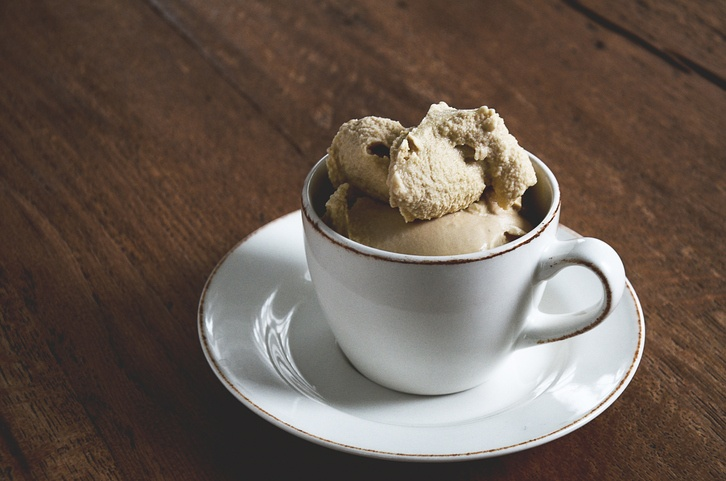 coffee cup filled with coffee ice cream