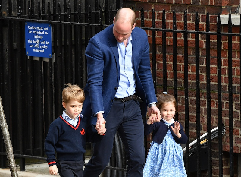 LONDON, ENGLAND - APRIL 23: Prince William, Duke of Cambridge arrives with Prince George and Princess Charlotte at the Lindo Wing after Catherine, Duchess of Cambridge gave birth to their son at St Mary's Hospital on April 23, 2018 in London, England. The Duchess safely delivered a boy at 11:01 am, weighing 8lbs 7oz, who will be fifth in line to the throne. (Photo by Gareth Cattermole/Gareth Cattermole/Getty Images)