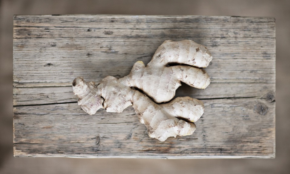 Ginger root on wooden board
