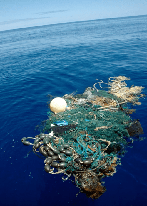 Garbage in the blue ocean.