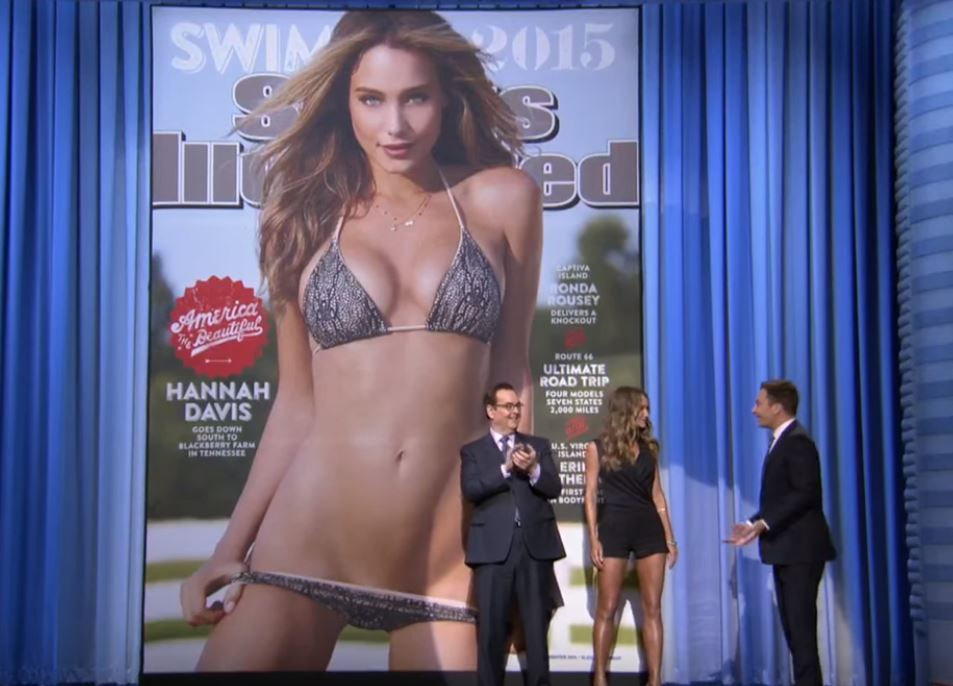 The Tonight Show's Jimmy Fallon reveals the 20115 Sports Illustrated Swimsuit edition cover.