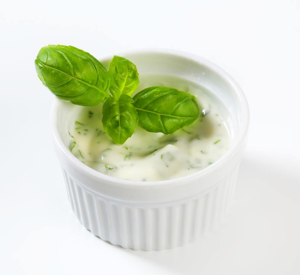 Ranch dressing in ceramic ramekin