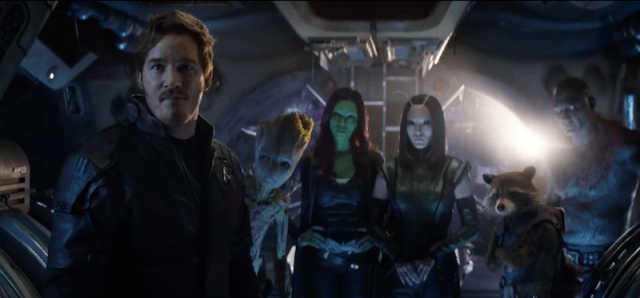 Chris Pratt standing with other characters in 'Avengers: Infinity Wars'.