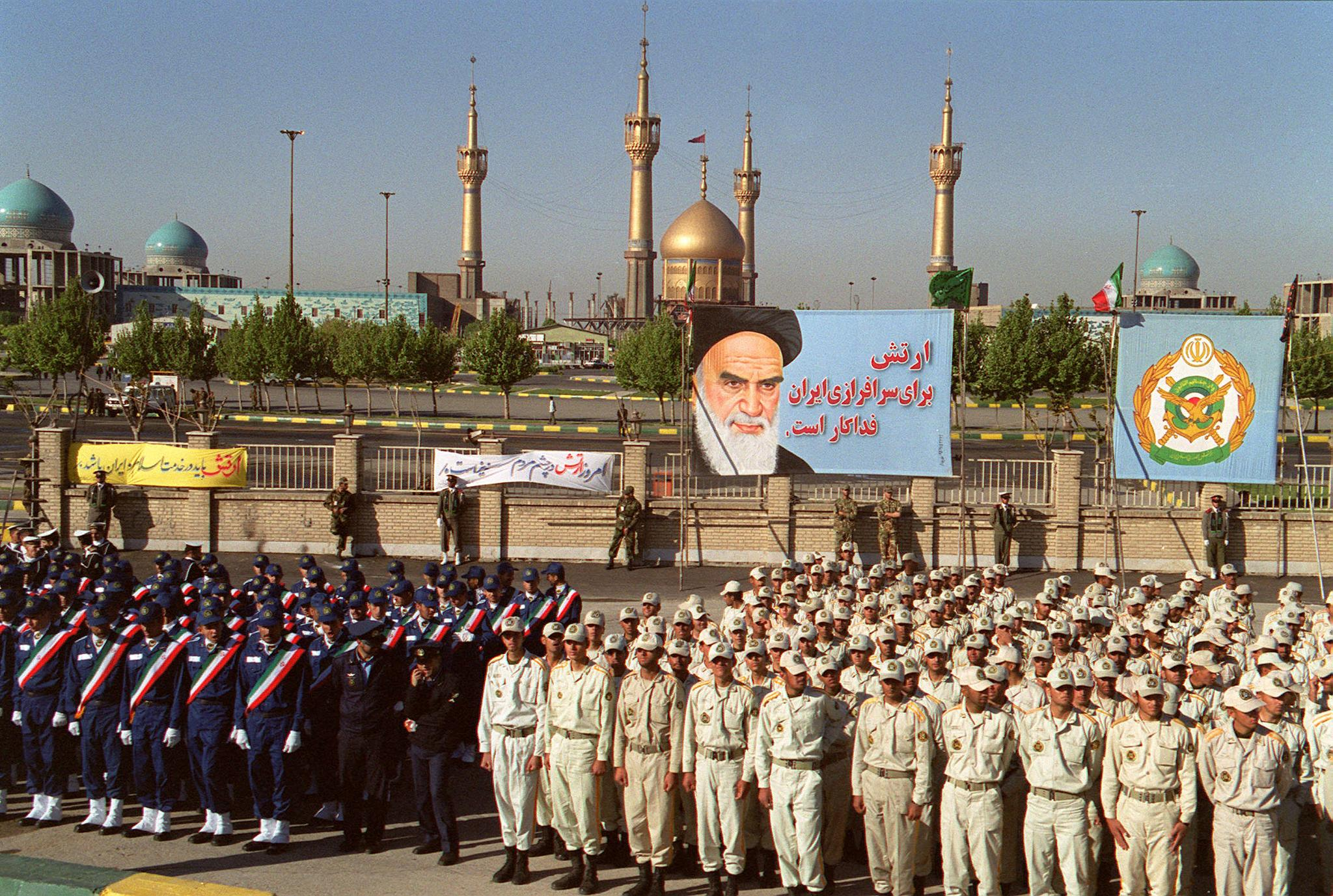Iranian soldiers take part in a parade held to mark the national army day