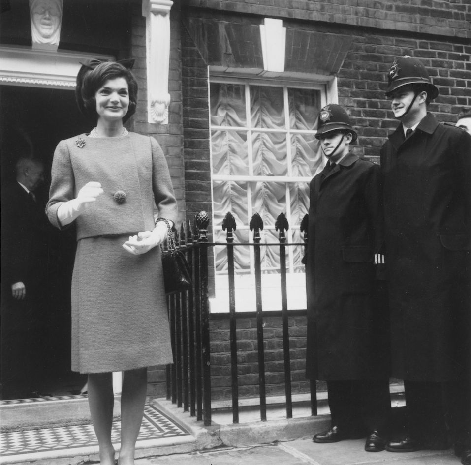 Jackie Kennedy wife of American president John F Kennedy, on her way to visit the Queen