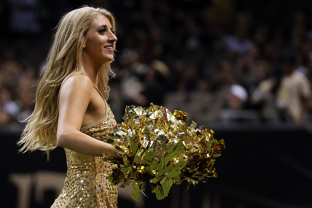 Cheerleaders for the New Orleans Saints perform during a game against the Jacksonville Jaguars