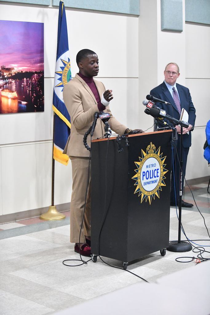 Waffle House patron James Shaw Jr. discusses the shooting at a Waffle House where a gunman opened fire killing four and injuring two at a press conference.
