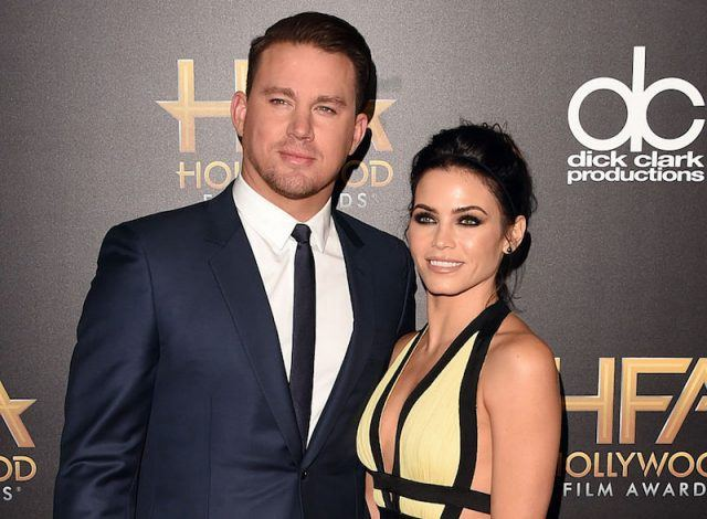 Channing Tatum and Jenna Dewan Tatum on a red carpet together.