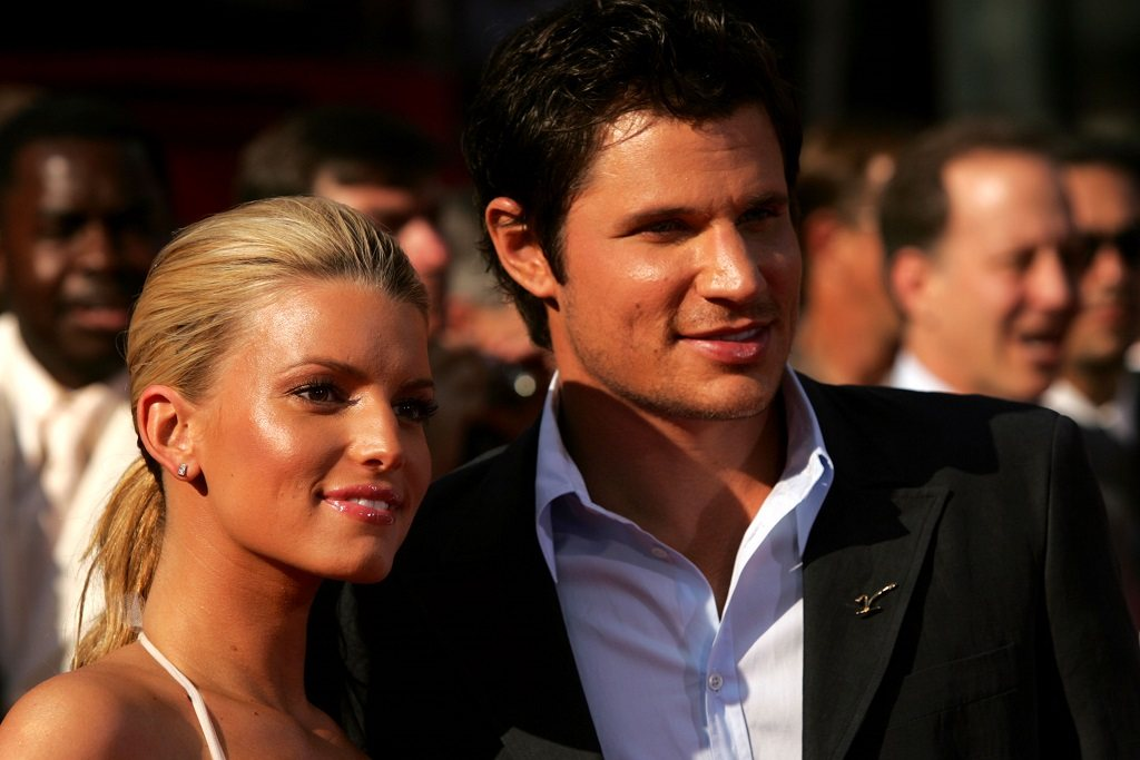 Jessica Simpson and husband Nick Lachey arrive at the ESPY Awards.