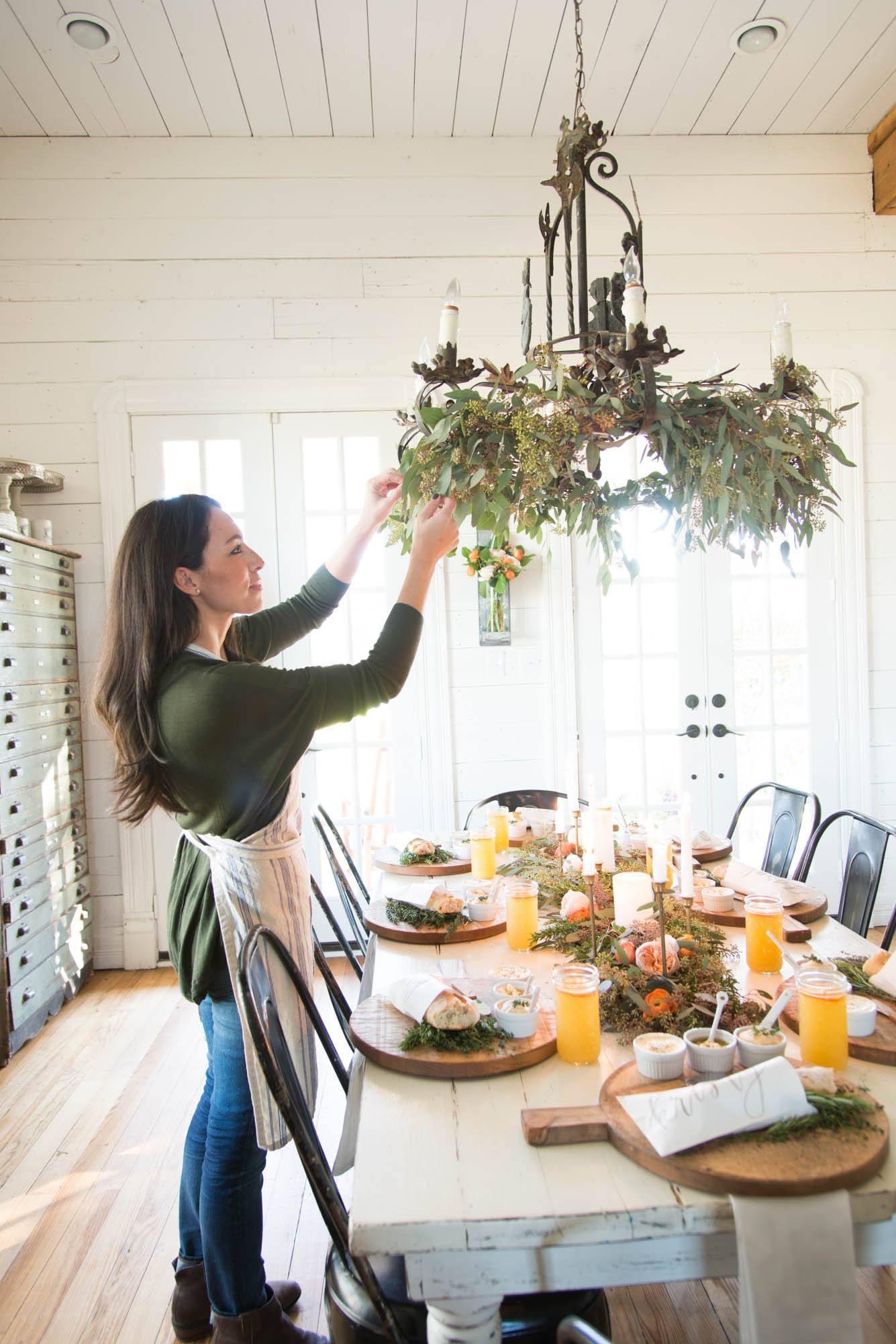 Joanna Gaines decorating chandelier