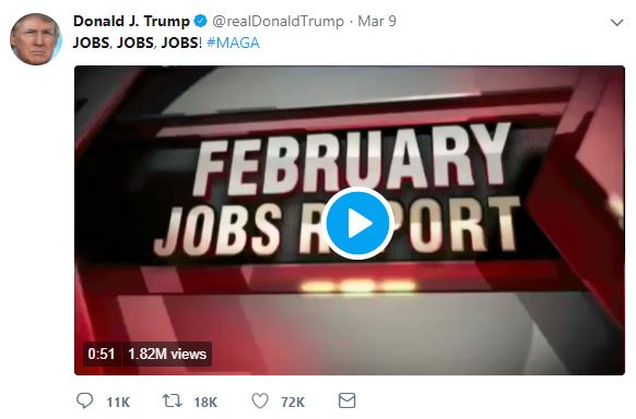 Trump is proud of his record on jobs.