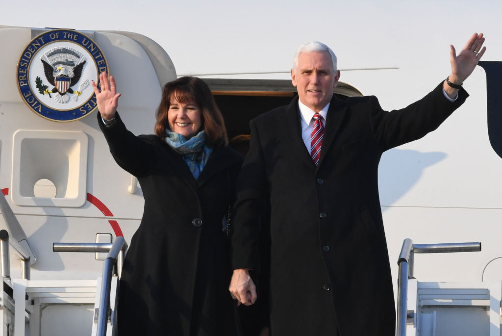 U.S. Vice President Mike Pence and Karen Pence aVisits South Korea