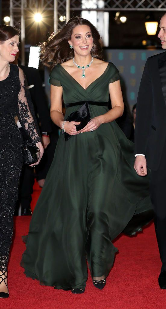 Britain's Catherine, Duchess of Cambridge smiles as she attends the BAFTA British Academy Film Awards at the Royal Albert Hall in London