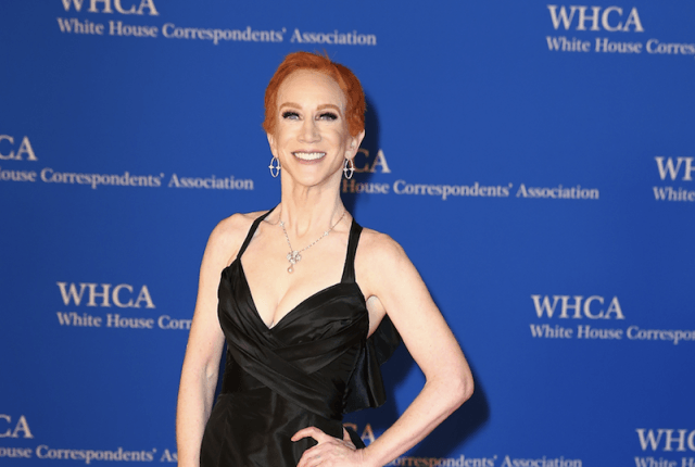Kathy Griffin posing on a red carpet.