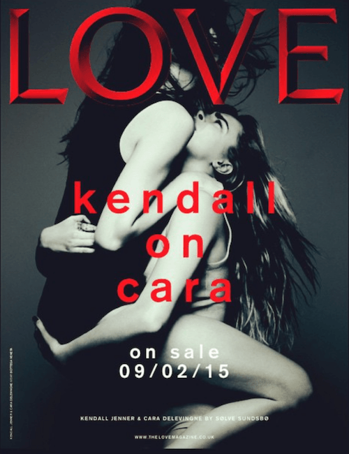 Kenall Jenner and Cara Delevinge on the cover of Love Magazine.
