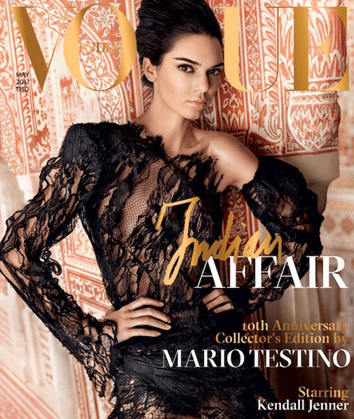 Kendall Jenner on the cover of Vogue India.