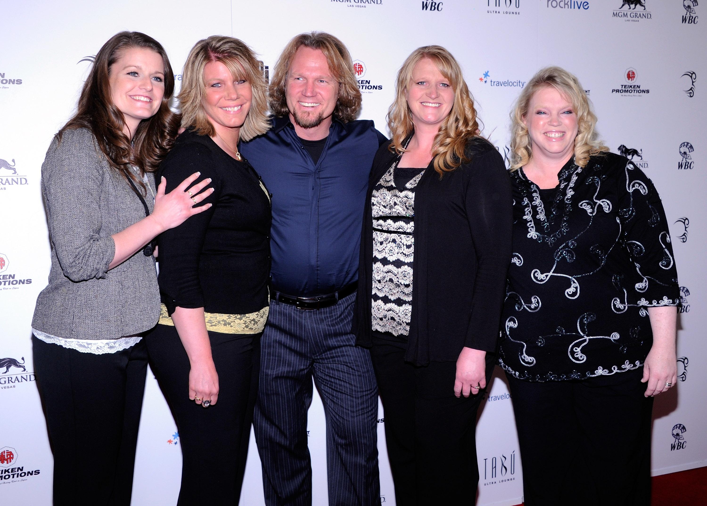 "(L-R) Robyn Brown, Meri Brown, Kody Brown, Christine Brown and Janelle Brown from ""Sister Wives"
