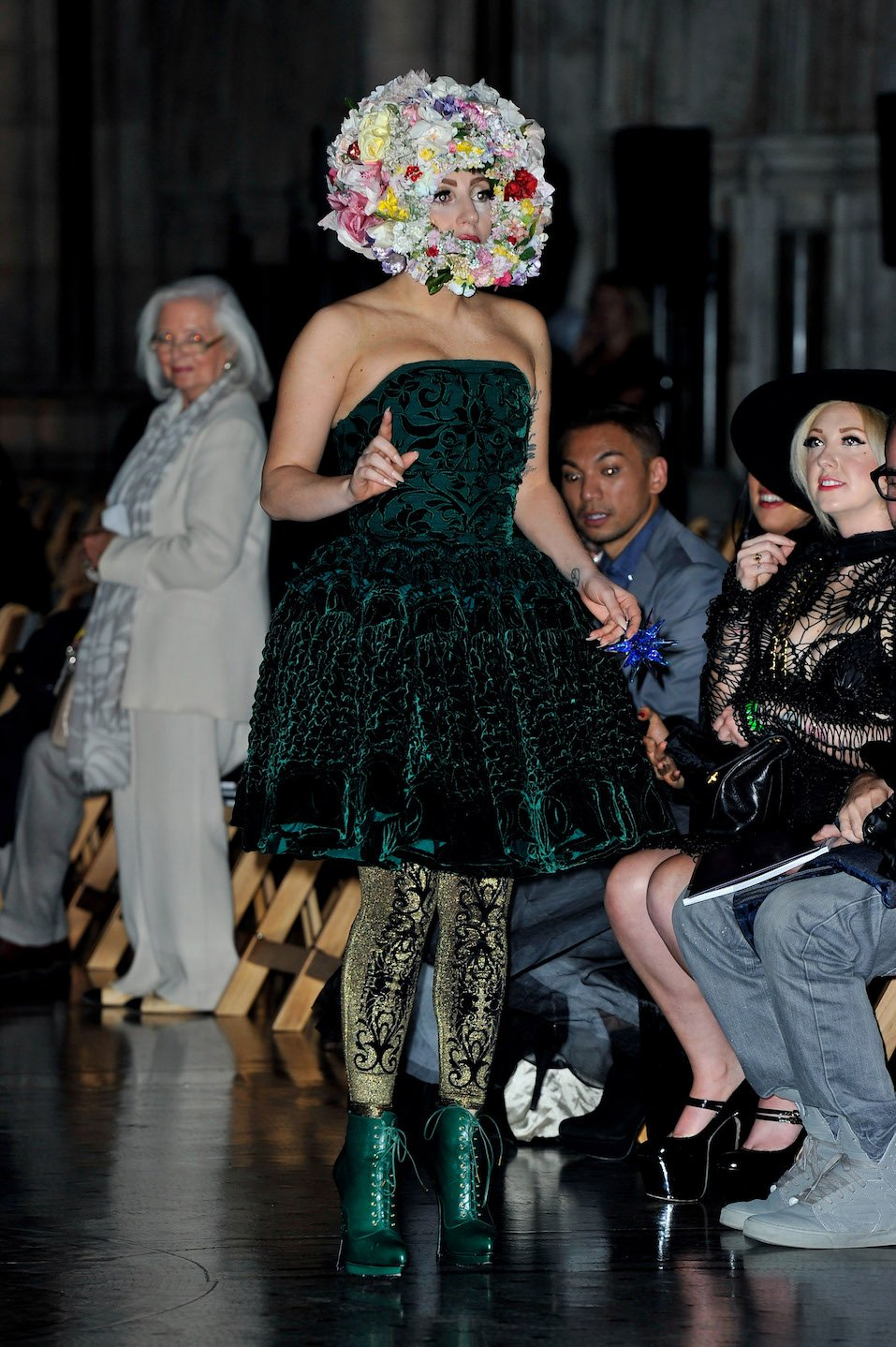 Lady Gaga attends the front row for the Philip Treacy show on day 3 of London Fashion Week