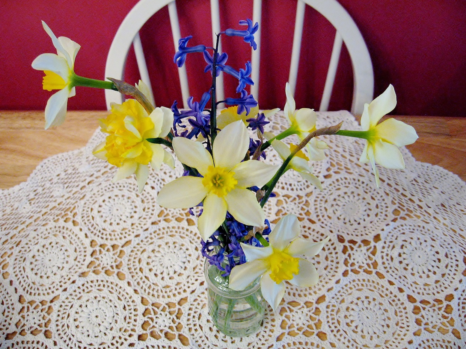 Daffodils and Hyacinth with Lace table cloth