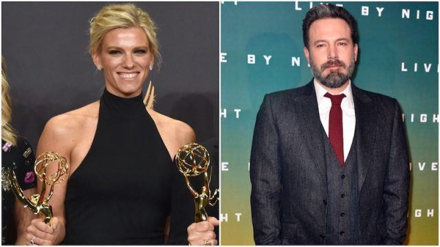 Lindsay Shookus and Ben Affleck collage.