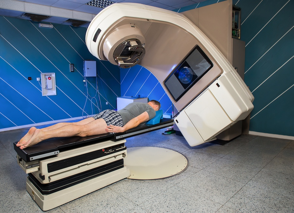 Man Receiving Radiation Therapy for Cancer Treatment