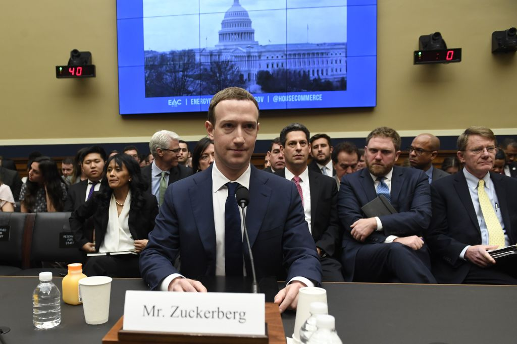 Facebook CEO and founder Mark Zuckerberg testifies during a US House Committee