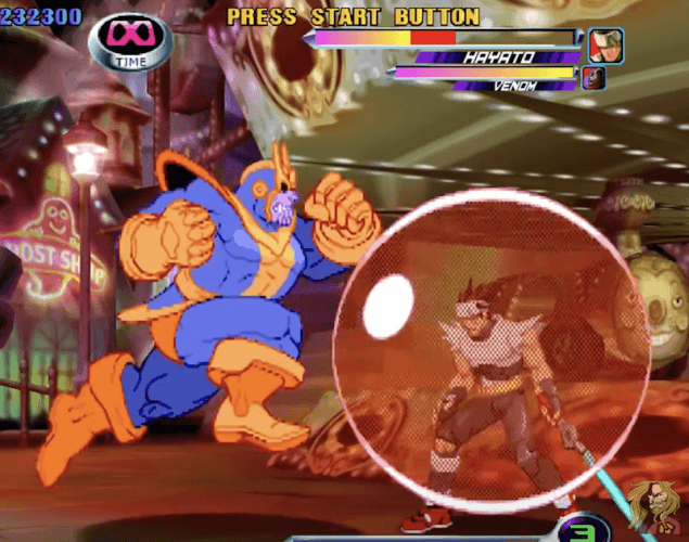 Thanos capturing an enemy in a large bubble.