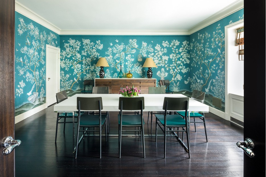 Dining room with blue and white wall paper