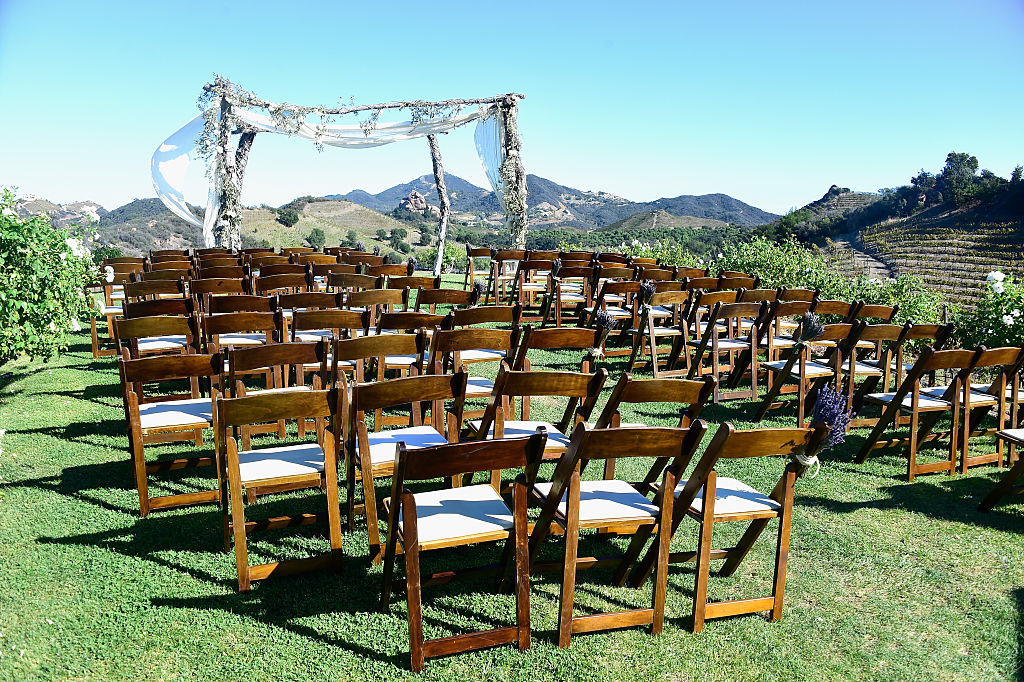 Atmosphere at the McKenzie Westmore and Patrick Tatopoulos marriage at the Chateau Le Dome, Saddlerock Ranch Winery