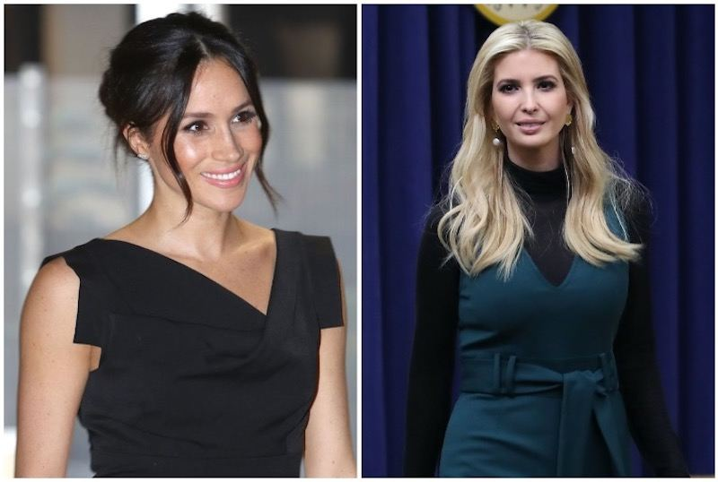 Meghan Markle on the left and Ivanka on the right, side-by-side photos