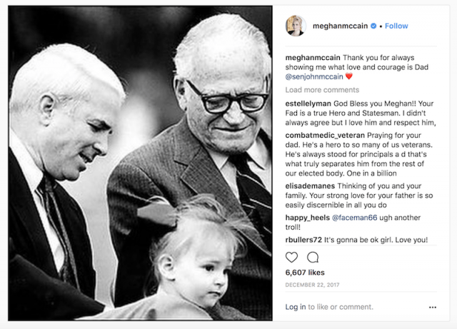 Meghan McCain's instagram post and message.