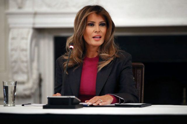 U.S. first lady Melania Trump hosts a roundtable discussion on cyber safety and technology.