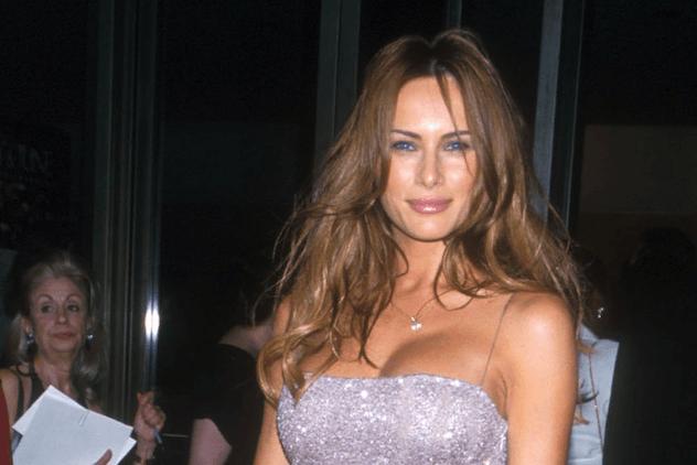 Melania Trump posing in a gown.