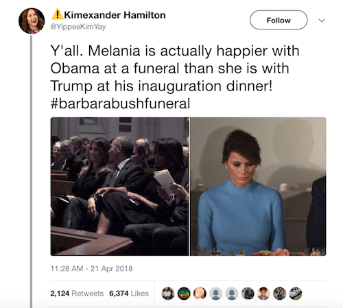 Barack Obama and Melania Trump tweet.