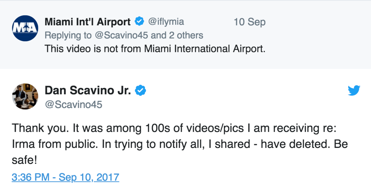Miami airport deleted tweet