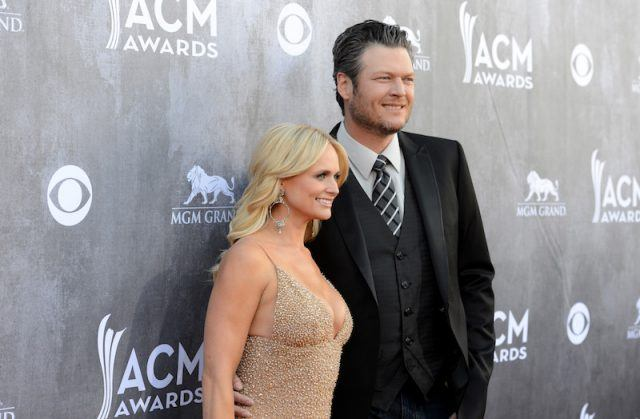 Miranda Lambert and Blake Shelton posing together.