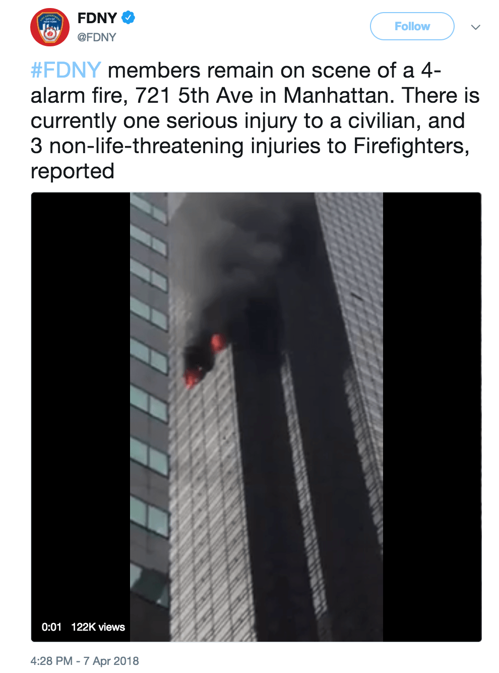 NYFD tweet Trump tower fire