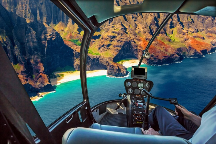 Helicopter cockpit flies in Na Pali coast, Kauai, Hawaii,