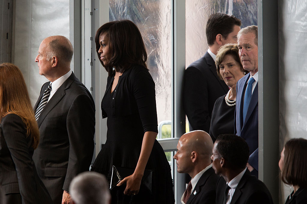 Michelle Obama, George Bush, Laura Bush at Funeral Held For Nancy Reagan At Reagan Presidential Library