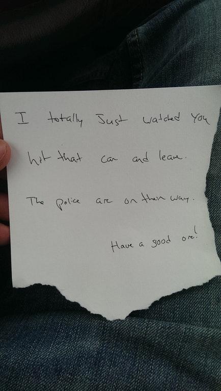 Neighbor note hit and run