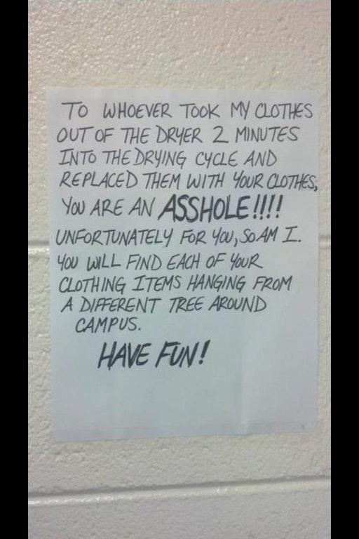 Neighbor note laundry interruption