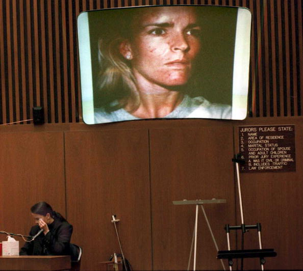 Denise Brown, the sister of murder victim Nicole Brown Simpson, cries on the witness stand