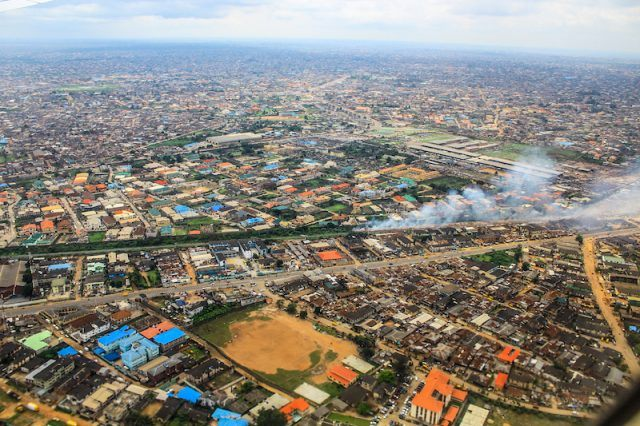 Nigeria seen from a plane's view.