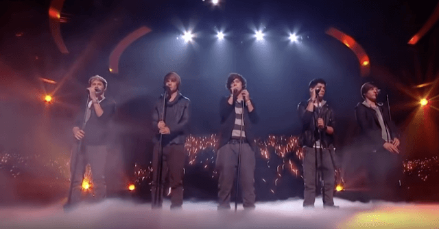 One Direction performing on 'The X Factor'.