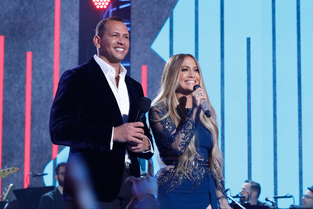 "Alex Rodriguez and Jennifer Lopez participate in the phone bank during ""One Voice: Somos Live! A Concert For Disaster Relief"""