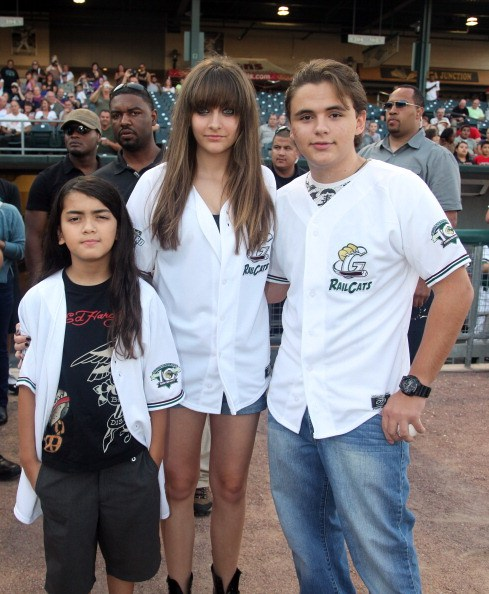 Prince Michael Jackson II, Paris Jackson and Prince Jackson attend the St. Paul Saints Vs. The Gary SouthShore RailCats baseball game