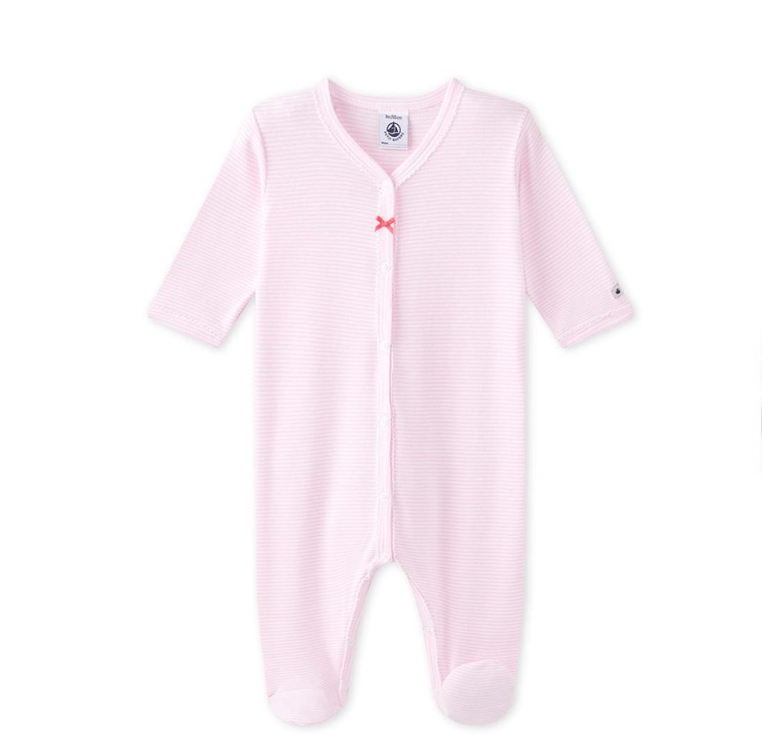 Petit bateau onesie pink striped