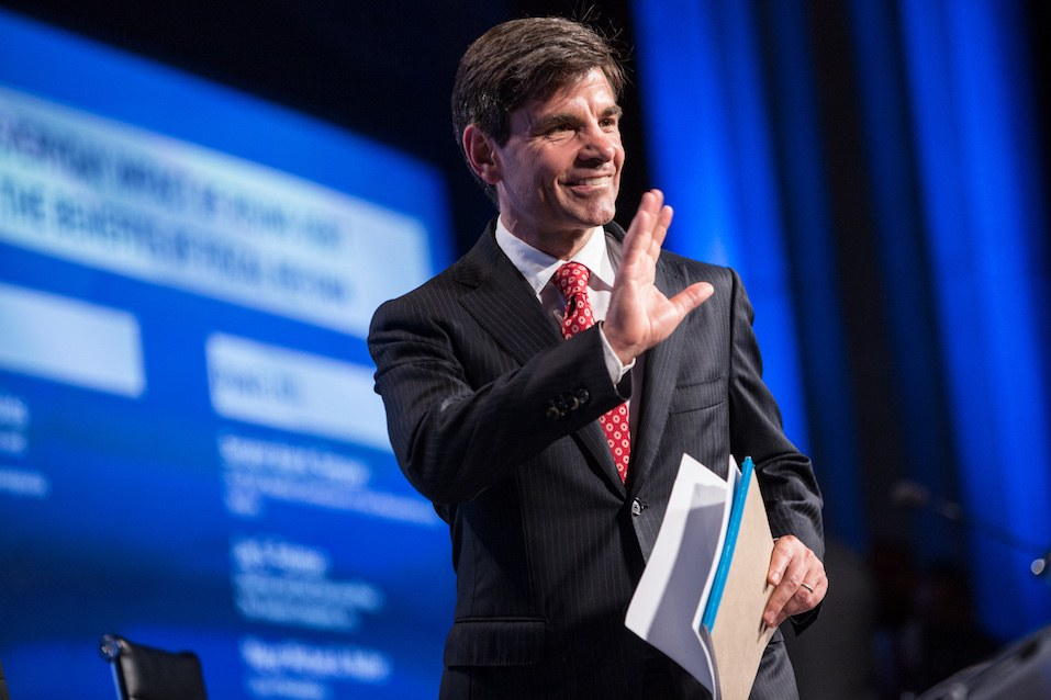 George Stephanopoulos, host of Good Morning America, walks on stage at the 2012 Fiscal Summit