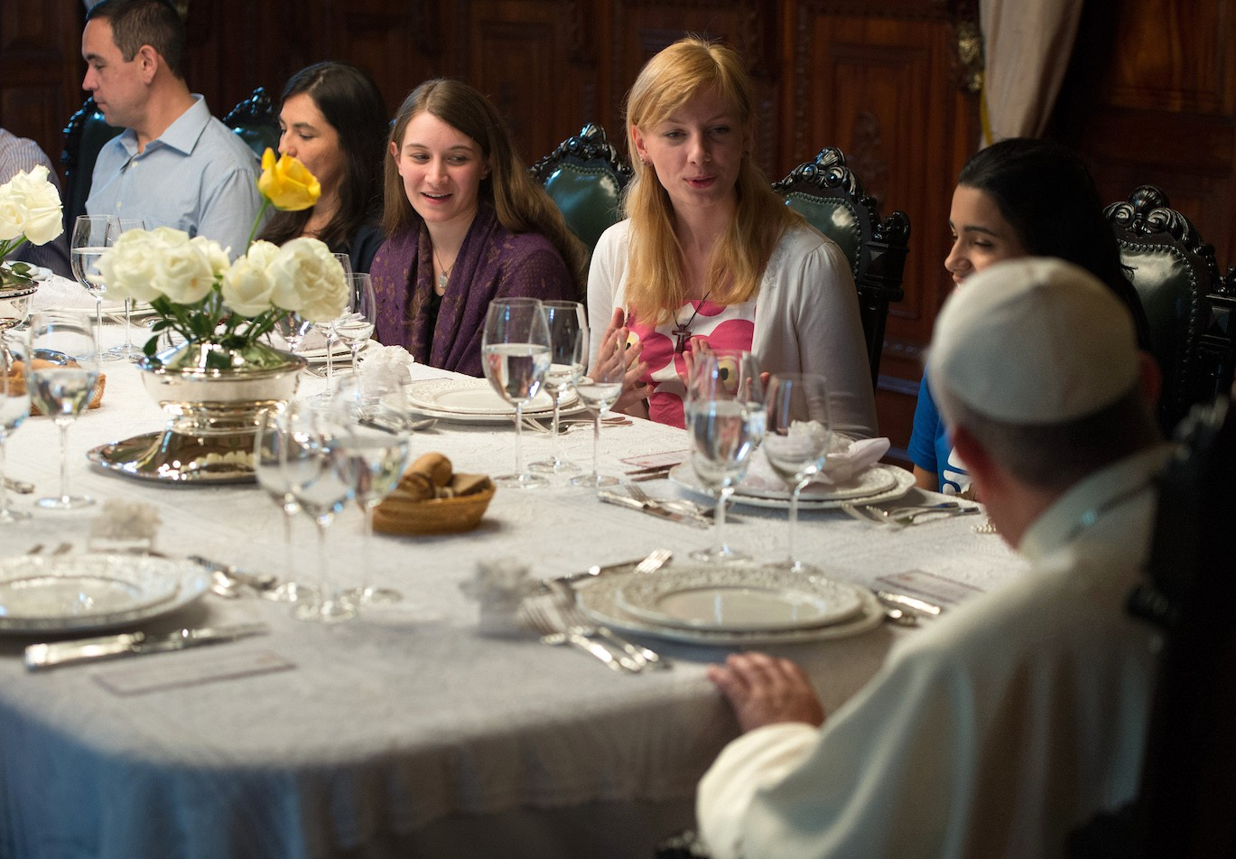 Pope Francis has dinner