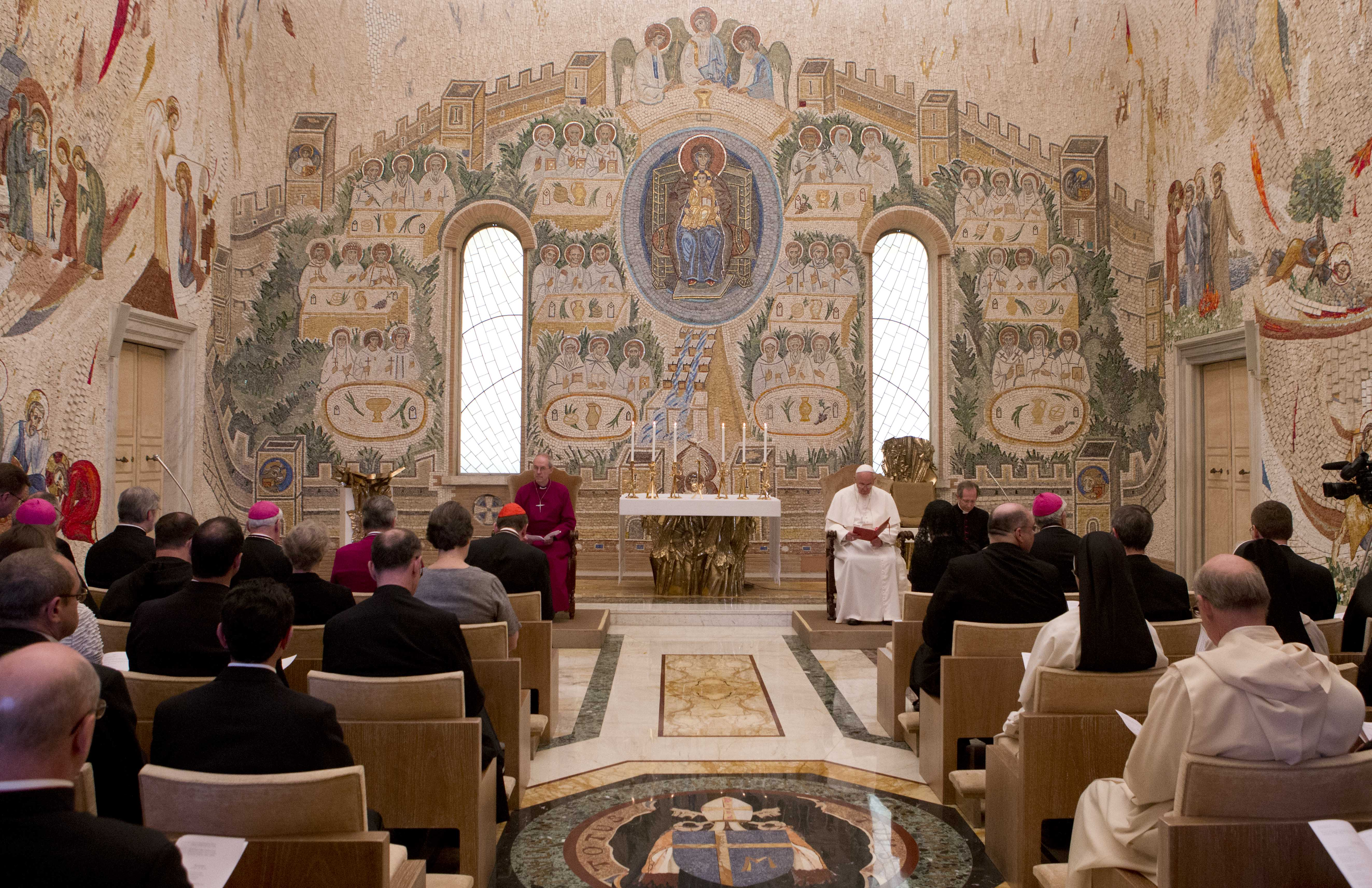 Pope Francis at a chapel at the Vatican
